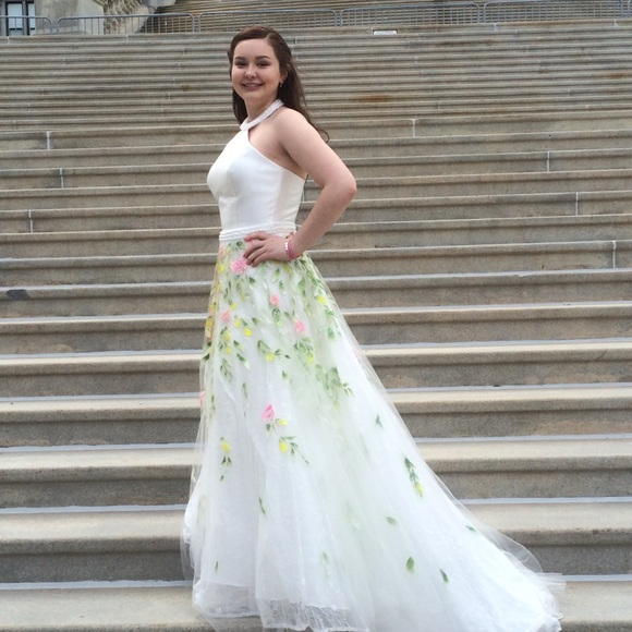 Sherri Hill Dresses | Stunning Twopiece White Floral Gown | Poshmark